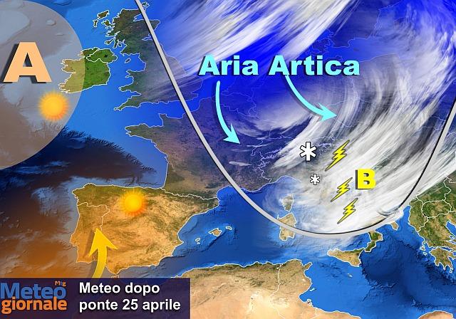 Meteo: brusco stop alla primavera, gelate e temporali al Nord
