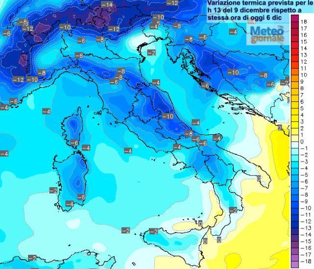 Meteo: tempo instabile con possibili nevicate nel week end dell'Immacolata