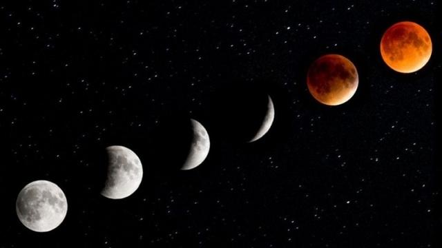 La luna rossa e scura si osserverà per un'ora e 45 minuti
