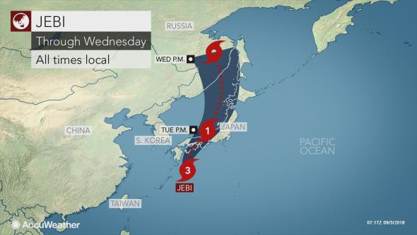 Il tifone Jebi in Giappone