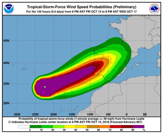 L'ex uragano Leslie investe il Portogallo