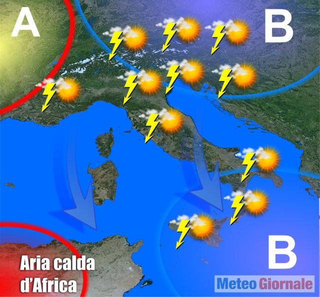 METEO: aria POLARE verso Alpi, rischio di SUPER TEMPORALI e GRANDINE