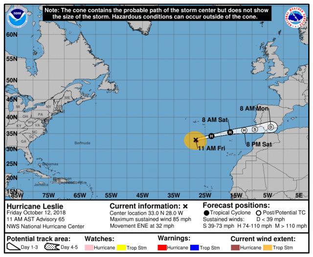 Leslie ha raggiunto il Portogallo, rischio devastazioni sulla costa