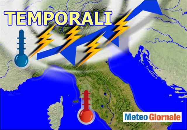 Meteo: temporali al Nord, ancora caldo al Sud, la situazione